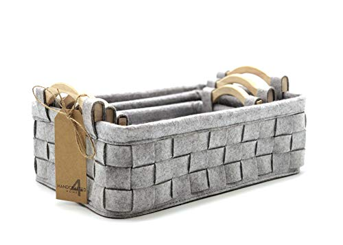 Handcrafted 4 Home GLNY2004 3-Multi-Size Rectangular Felt Fabric Storage Baskets with Carry Wooden Handle for Shelves, Cloths, Toy Organizer in Bedroom, Living room, kid
