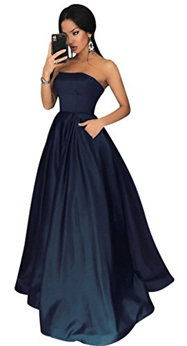 Yangprom Charming Strapless Satin A-line Prom Dress Long with Beaded Pockets (2, Navy)