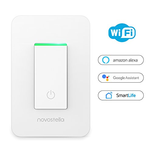 Novostella Smart Light Switch, Wi-Fi Remote Control with Timing Function, No Hub Required, Works with Amazon Alexa and Google Home, ETL Listed 15A (1 Pack)