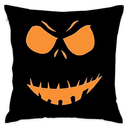 Angry Skeleton Pumpkin Halloween Decorative Throw Pillow Cover for Couch, Sofa, or Bed 18 x 18 inch Modern Design Soft Cotton -