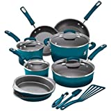 Rachael Ray 15-Piece Hard Enamel Nonstick Cookware Set (Marine Blue)