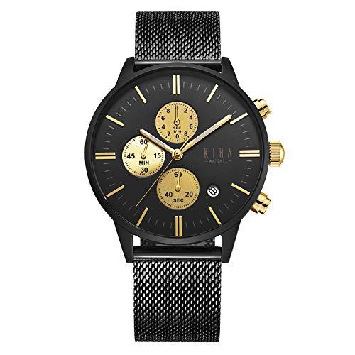 - KIRA-WATCHES Luxury Wrist Watch for Men - 316L Stainless Steel Dial & Milanese Mesh Strap, 3 Stopwatches 42mm Chronograph Analog Watches Black & Gold - Japanese Quartz Movement Watch