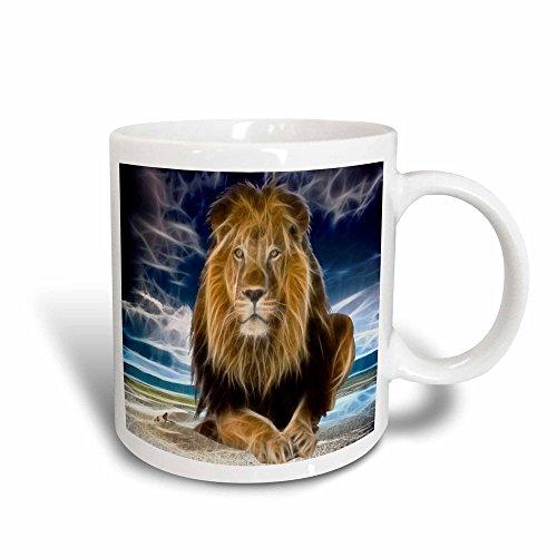 3dRose Mug King of the jungle, stunning lion on the prairie with digital affects (mug_167119_3) - 11oz - Transforming, Black/White - Rose Prairie Cup