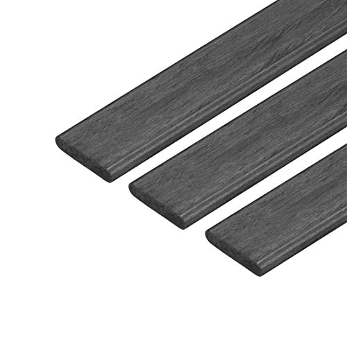 uxcell Carbon Fiber Strip Bars 2x10mm 600mm Length Pultruded Carbon Fiber Strips for Kites, RC Airplane 3 Pcs ()