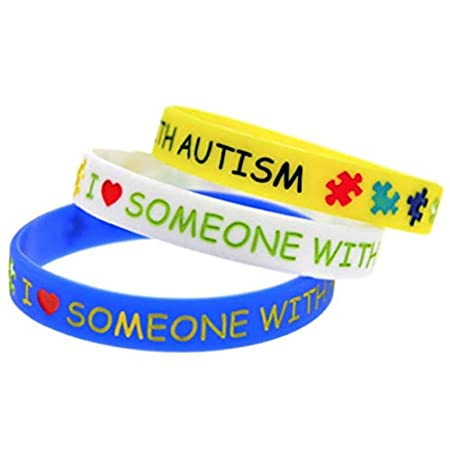 Set of 3 I Love Someone with Autism Wristbands Bracelet Wristband Autism Awareness Support UK 41ujKyNWhTL