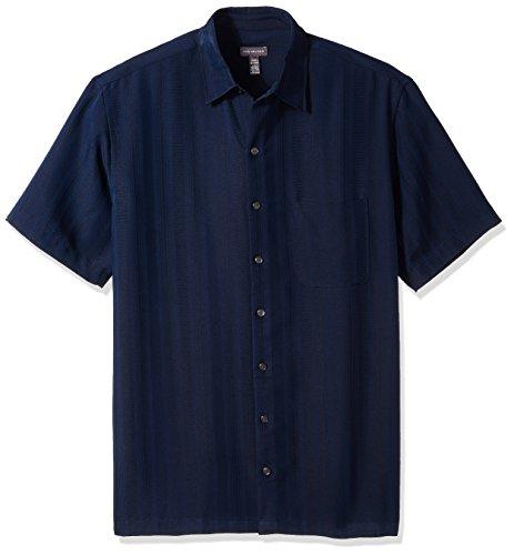 Van Heusen Men's Size Big and Tall Air Short Sleeve Button Down Poly Rayon Stripe Shirt, Blue/Black Iris, 3X-Large (Big And Tall Short Sleeve Dress Shirts)