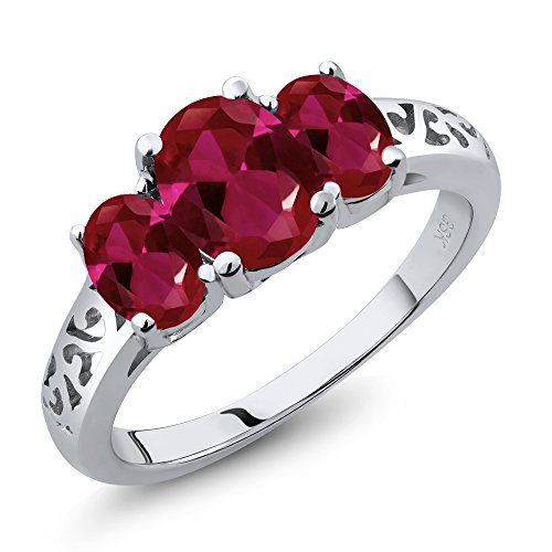 Gem Stone King 2.15 Ct Oval Red Created Ruby 925 Sterling Silver 3-Stone Women's 3 Stone Ring (Size 9) ()