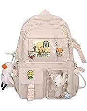 YNWJ Kawai ryggsäck, Kawai söt skolryggsäck, ryggsäck med Kawai-tillbehör, tjej skolryggsäck, tillbaka till skolan flicka ryggsäck