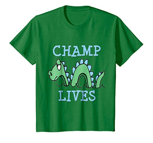 Kids Champ Lives Sea Monster Vermont T-Shirt 8 Kelly Green - Sea Monster Green