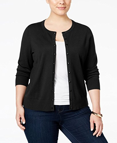 Charter Club Plus Size Long-Sleeve Cardigan (0X) Deep Black