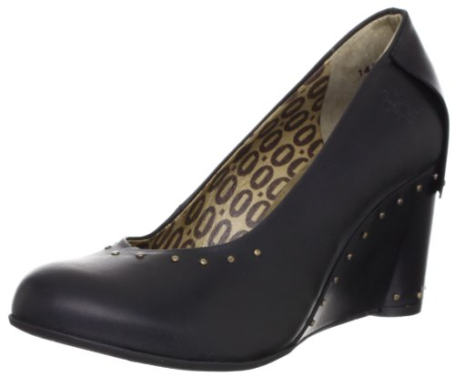 Zapatos de de cuero tacón FLY Negro mujer London Gett para qxUwUEg