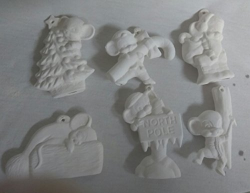 Mouse Christmas Ornaments Asst #3 set of 6 ready to paint ceramic bisque by  Creative - Mouse Christmas Ornaments Asst #3 Set Of 6 Ready To Paint Ceramic