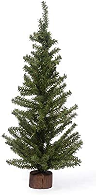 Darice Christmas Artificial Pine Tree on Wood Base, 24-Inch