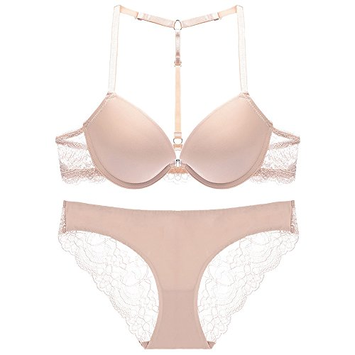 Sexy Lace Front Closure T Back Strap Push Up Seamless Bra Panty Set Beige