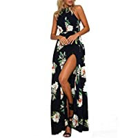 MISSLOOK Women's Floral Maxi Dresses Sleeveless Split Halter Backless Beach Summer Long Dress