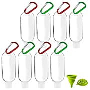 Travel Plastic Clear Keychain Bottles,Horuhue 8 Pcs 50ml Refillable Bottles Travel with Carabiner