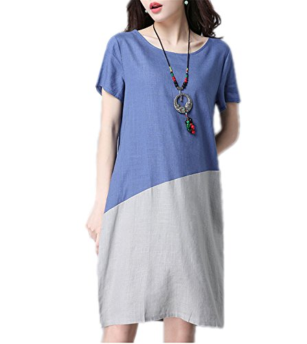 Bang-pa Fashion cotton linen vintage print women casual loose summer dress vestidos femininos party dresses Blue M