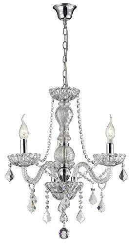 Lustre Brigitte, 120x60, cristal, vidro e metal cor transparente
