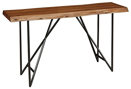 Alpine Furniture Sofa Table in Light Walnut Finish -