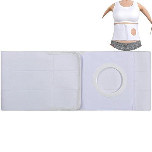 Ibnotuiy Cotton Soft Ostomy Hernia Belt Waist Support Belt Abdominal Binder Brace with Stoma Opening 2.76 inch Hole (White, L)
