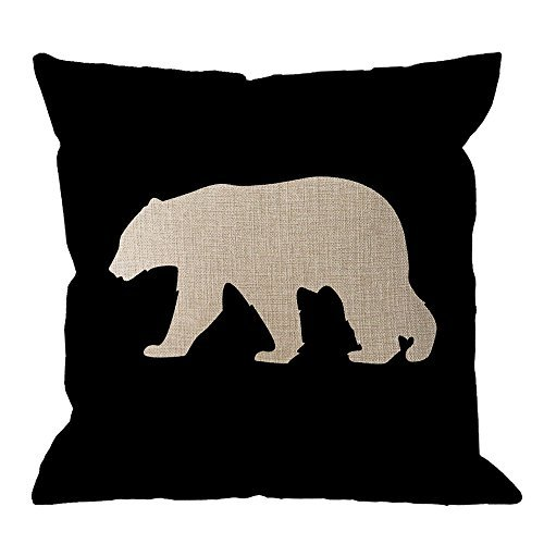 HGOD DESIGNS Bear Pillow Cover,Black Background Bear Throw Pillow Case Cotton Linen Square Cushion Cover Standard Pillowcase Home Decorative for Sofa Armchair Bedroom Livingroom 18 x 18 inch ()