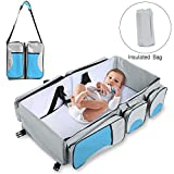 Cheap Baabyoo Baby Travel Bed Bag Baby Diaper Bag Portable Baby Diaper Change Station 4 in 1 Folding Baby Bag Newborn Carrier Infant Bassinet Baby Tote Bag Folding Crib Baby Shower Gift (Blue 2)