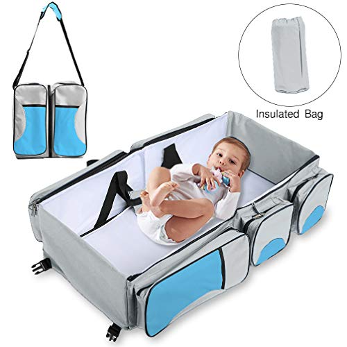 Baabyoo Baby Travel Bed Bag Baby Diaper Bag Portable Baby Diaper Change Station 4 in 1 Folding Baby Bag Newborn Carrier Infant Bassinet Baby Tote Bag Folding Crib Baby Shower Gift (Blue 2)