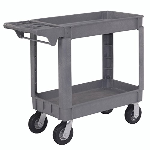 Small Deluxe 2 Shelf Plastic Utility & Service Cart, 6