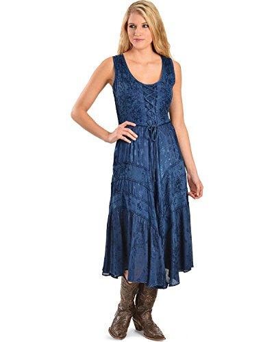 scully-womens-lace-up-jacquard-dress-blue-x-large