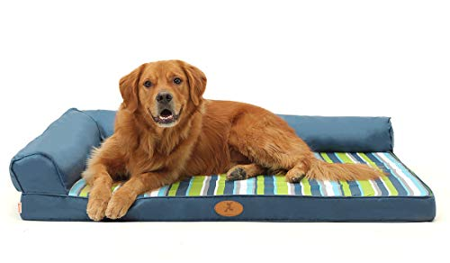 (Orthopedic Pet Dog Bed Striped - Two-Sided L Shape Dog Bed Pillow with Waterproof Cover Removable Soft Memory Foam Dog Bed Large 47.2x35.4 inches)