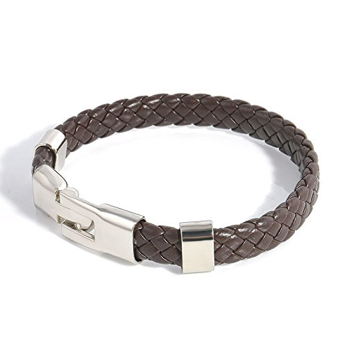 ERAWAN Fashion Men Women Leather Wrap Wristband Cuff Magnetic Clasp Bangle Bracelet EW sakcharn - Specialty Wristband