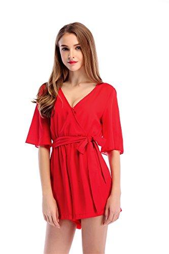 Pyjamas De Mousseline Dames XL Fashion Red Jumpsuit Casual Jupe Soie nOnw17qTP