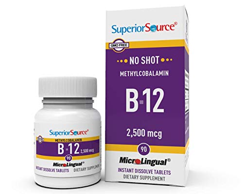Superior Source No Shot Vitamin B12 Methylcobalamin 2500 mcg, Quick Dissolve Sublingual Tablets, 90 Count, Active Form of B12, Increase Metabolism, Energy Production, Nervous System Support, Non-GMO
