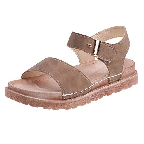 TIANMI Sandals Female Summer Thick-Soled Muffin Roman Sandals Flat-Bottomed Beach Shoes(Khaki,37)
