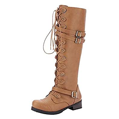 d24dbef03478 Image Unavailable. Image not available for. Color  Creazrise Womens Knee  High Mid Calf Lace Up Biker Punk Military Combat Boots ...
