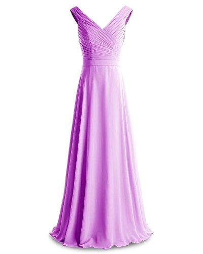 Ausschnitt Lila Kleider LLY143 Hochzeitsgäste Festliche Party Lilybridal Abendkleider Chiffon Kleider V Kleider Kleider Ruched Brautjungfer Elegante Für waqBv