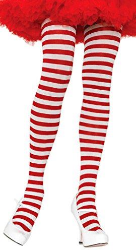 ToBeInStyle Women's Nylon Horizontal Striped Tights - White/Red - One Size -