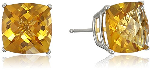 14k White Gold Cushion-Cut Checkerboard Citrine Stud Earrings (8mm)