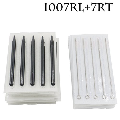 Tattoo Needles Disposable Tips - Yuelong 50pcs Tattoo Needles 7RL Round Liner & 7R Round Disposable Long Tips for Tattoo Supplies,Tattoo Kits (Needles Tattoo 7rl Tubes With)