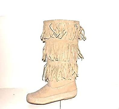 NEW Women Faux Leather Comf Knee High Tall Tassel Fringe FLAT Moccasin Boots