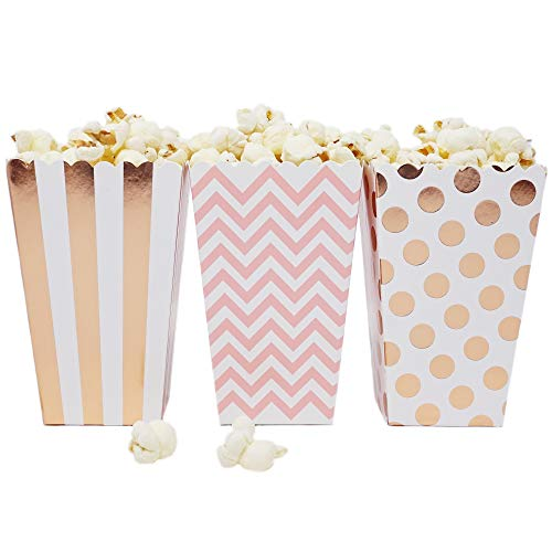 Mini Popcorn & Candy Favor Treat Boxes for Birthday, Bridal and Baby Shower - Polka Dot, Chevron, Striped Assorted Designs - 36 Count (Pink, Rose Gold) ()
