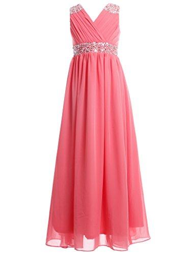 Long Embellished (FAIRY COUPLE Girl's Embellished V-neck Long Flower Girl Dress for Wedding K0156 6 Coral)