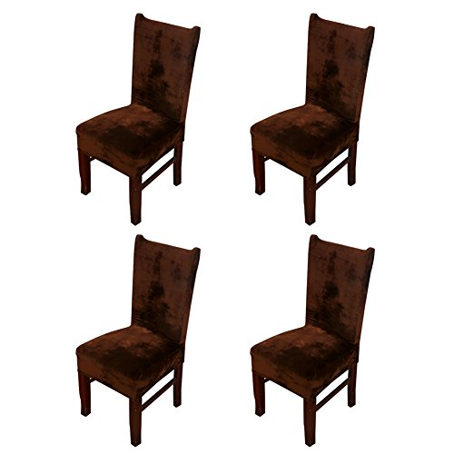 Hemons 4 X Universal Stretch Fox Pile Fabric Chair Covers Removable Washable Ceremony Hotel Dining Room Kitchen Bar Dining Seat Cover Restaurant Wedding Part Decor (Coffee) (Covers Bar Seat Chair)