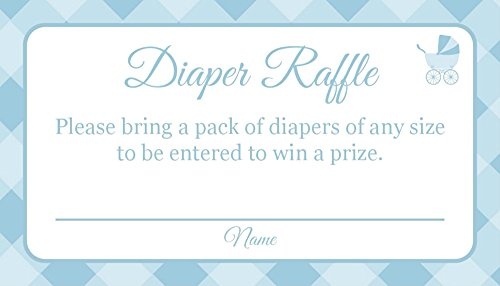 Jot & Mark Baby Shower Diaper Raffle Card Tickets for New Moms (25 Count, Blue) ()