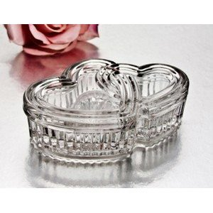 3858 Crystal Double Heart Box (Box Candy Dish)