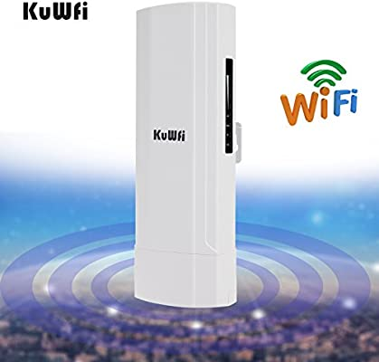 KuWFi WDS Waterproof 300Mbps Wireless Bridge Outdoor CPE Point to Point 3KM  Distance Outdoor Wireless Access Point CPE Router with WiFi Long Range
