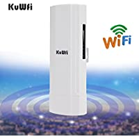 KuWFi WDS Waterproof 300Mbps Wireless Bridge Outdoor CPE point to point 3KM Distance Outdoor Wireless Access Point CPE Router with WiFi Long Range Router More WiFi Range