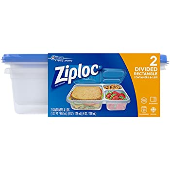 Ziploc Container, Divided Rectangle, 2Count