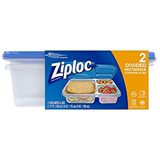 Ziploc Food Storage Containers, Perfect for on-the-go snacking, BPA Free, Divided Rectangle, 2 Count