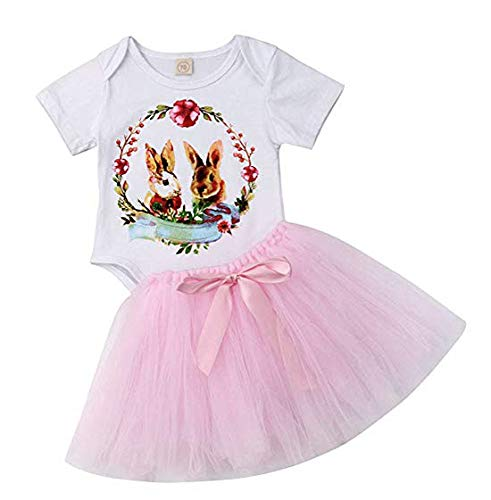 Easter Day-Baby Girl Skirt Set Short Sleeve Bunny Romper and Tutu Skirt Outfit Set(Pink, 80 (6-12M))